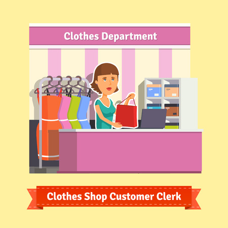 sales clerk: Sales clerk working with customers at the clothes store or department. Pretty woman shop assistant. Flat style illustration. EPS 10 vector.