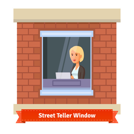 teller: Street teller window with a working clerk woman. Flat illustration. EPS 10 vector.