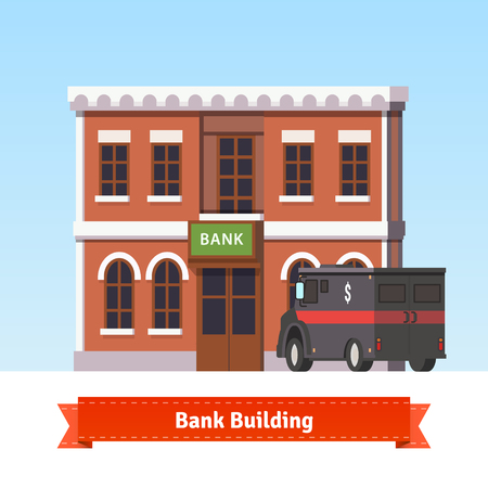 armoured: Bank building with armoured truck at the front. Flat style illustration. EPS 10 vector.
