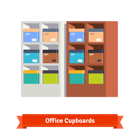 cupboards: Simple office cupboards. Flat style  illustration. EPS 10 vector.