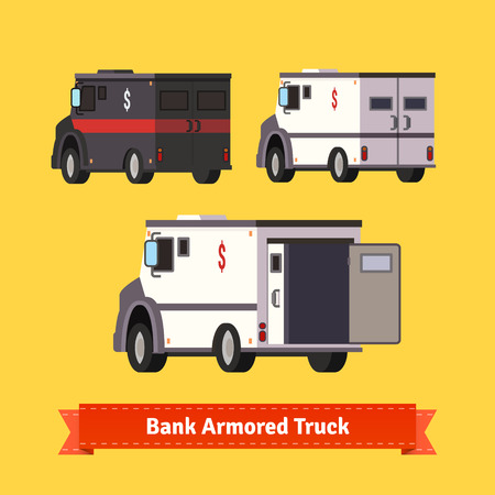 armoured: Bank armoured cars. Flat style vector illustration Illustration