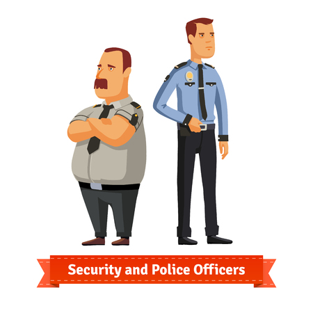 security uniform: Security and police officers standing. Flat style illustration. EPS 10 vector. Illustration