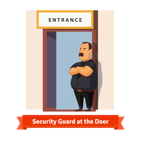 seguridad en el trabajo: Servicio de seguridad o gorila de trabajo en la puerta. ilustración plana. 10 EPS vector. Vectores