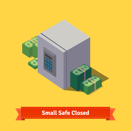 cypher: Small safe. Opened with money inside. Flat style isometric illustration. EPS 10 vector. Illustration