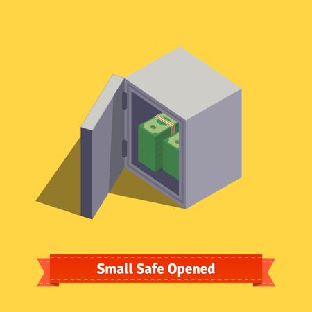 safe money: Small safe. Opened with money inside. Flat style isometric illustration. EPS 10 vector. Illustration