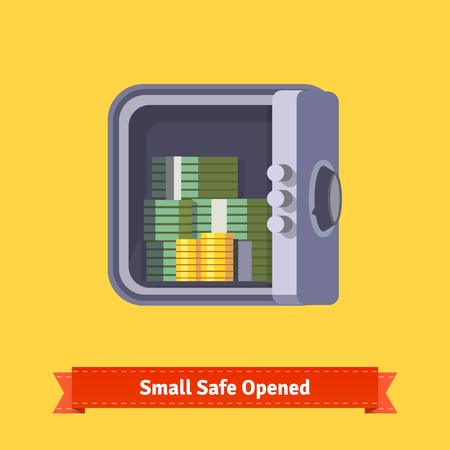 Small safe front view. Opened with money inside. Flat style illustration. EPS 10 vector.