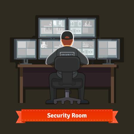 monitoreo: sala de seguridad con el trabajo profesional. ilustración de estilo plano. 10 EPS vector.