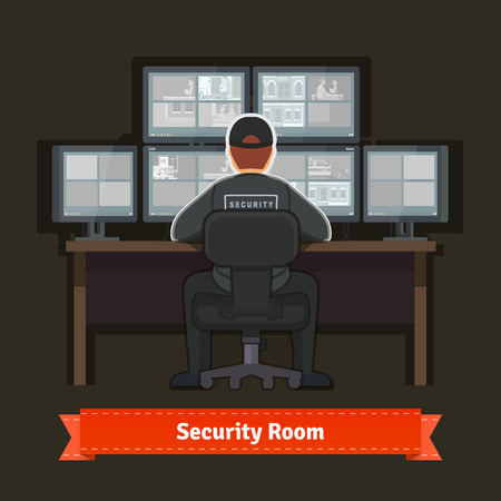 video surveillance: Security room with working professional. Flat style illustration. EPS 10 vector.