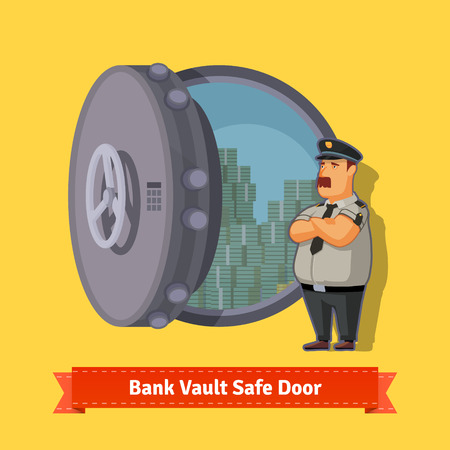 safe lock: Bank vault room safe door with a officer guard. Opened with money inside. Flat style isometric illustration. EPS 10 vector. Illustration