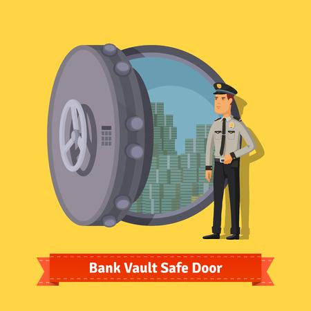 Porta blindata per il caveau di una banca con una guardia ufficiale. Aperto con soldi dentro. Illustrazione isometrica stile piano. EPS 10 vettoriale.