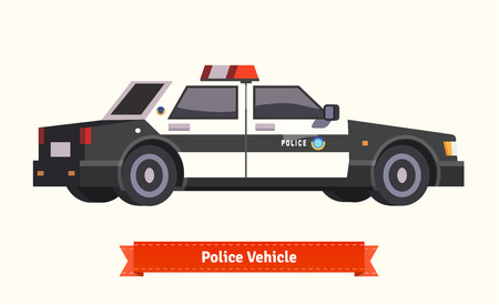 interceptor: Police vehicle image. Flat style vector illustration