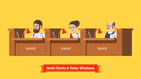 Three bank clerks at work. Teller windows with working professionals. Flat illustration. EPS 10 vector.
