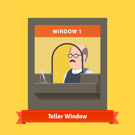 a bank employee: Teller window with a working bald cashier with glasses and moustache. Flat illustration. EPS 10 vector.