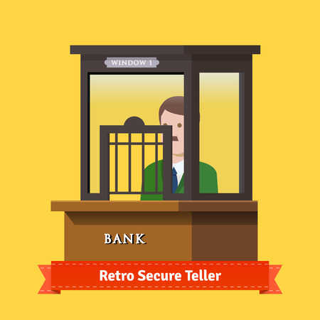 pawn shop: Retro secure caged teller window. Man working at teller window. Flat illustration. EPS 10 vector.