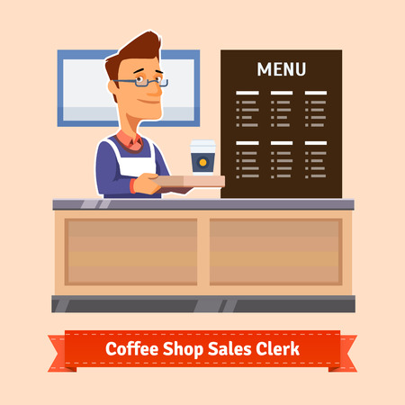 shop owner: Young shop assistant serving a cup of coffee at the cashier desk. Flat illustration. EPS 10 vector.