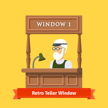 pawn shop: Retro teller window or pawn shop window. Man working at teller window. Flat illustration. EPS 10 vector.