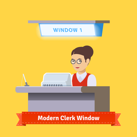 counter service: Modern technology teller window. Bank sales clerk woman in red jacket working with customers. Flat illustration. EPS 10 vector.