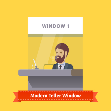 Modern teller window with a working bearded cashier. Flat illustration. EPS 10 vector.