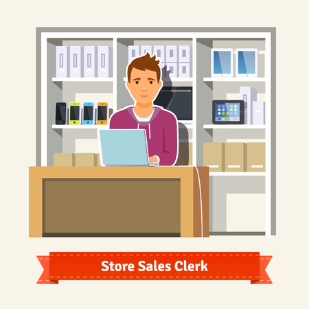 sales clerk: Sales clerk working with customers at the technology store or department. Young boy shop assistant. Flat illustration. EPS 10 vector. Illustration