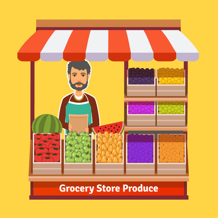 store keeper: Produce shop keeper. Fruit and vegetables retail business owner working in his own store. Flat illustration. EPS 10 vector.