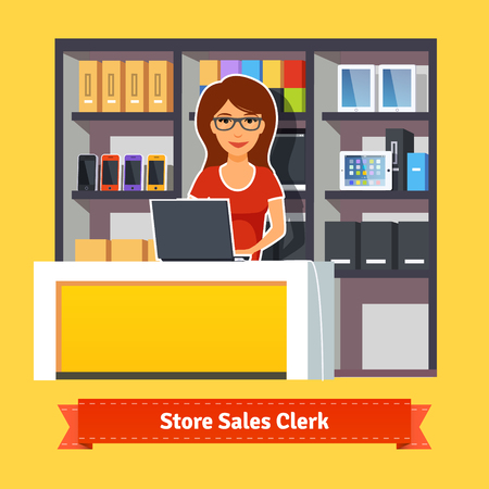 sales clerk: Sales clerk working with customers at the technology store or department. Pretty woman shop assistant. Flat illustration. EPS 10 vector.