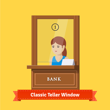 banco dinero: Ventana clásica caja de banco con un empleado de trabajo. cajero mujer joven. ilustración plana. 10 EPS vector.