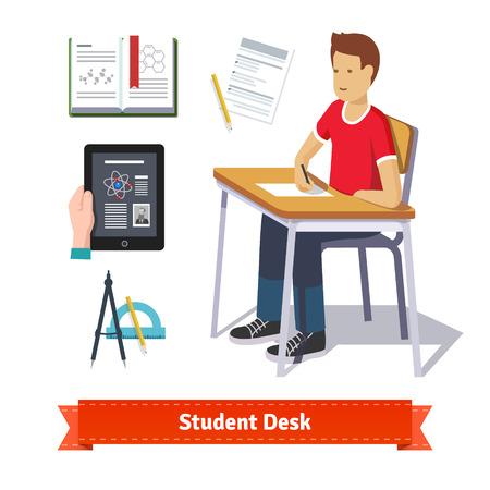 writing chair: Student desk colourful flat icon set. Classroom student sitting at the desk and writing on the paper. EPS 10 vector.
