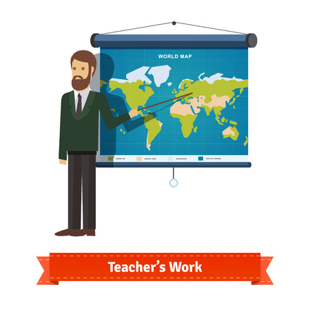 pointer: Presentation on map. Teacher or lector showing the map with pointer. Flat illustration. EPS 10 vector.