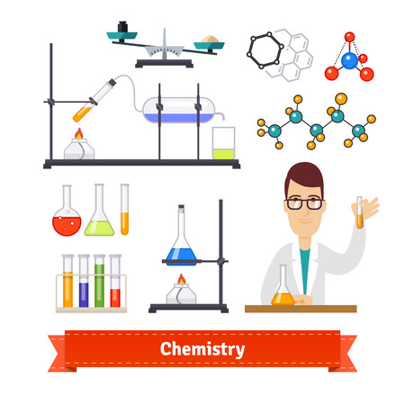 formule: Chemistry equipment and chemist colourful flat icon set. EPS 10 vector.