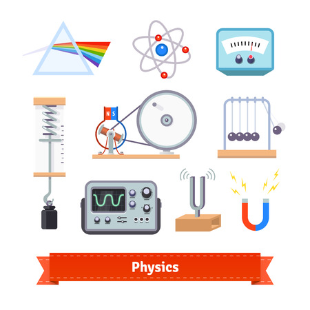 physics: Physics classroom equipment colourful flat icon set. EPS 10 vector. Illustration