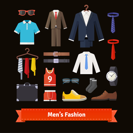 Uomini moda colorata piatto set di icone. Abbigliamento, abiti, camicie, scarpe e accessori. negozio assortimento di vendita al dettaglio. EPS 10 vettore.
