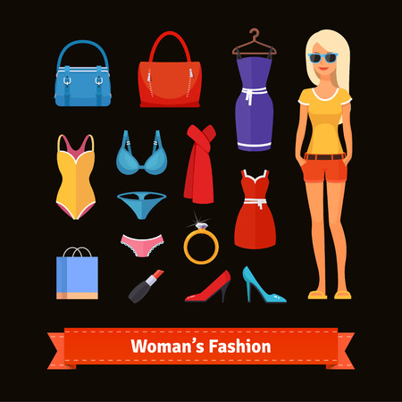 woman accessories: Woman fashion colourful flat icon set with model. Apparel, dresses, swim suits, jewelry and accessories. Retail store assortment. EPS 10 vector.