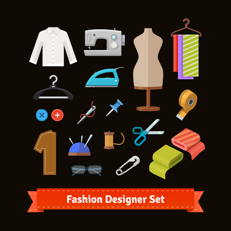 couturier: Fashion designer tools and materials flat icon set. EPS 10 vector.