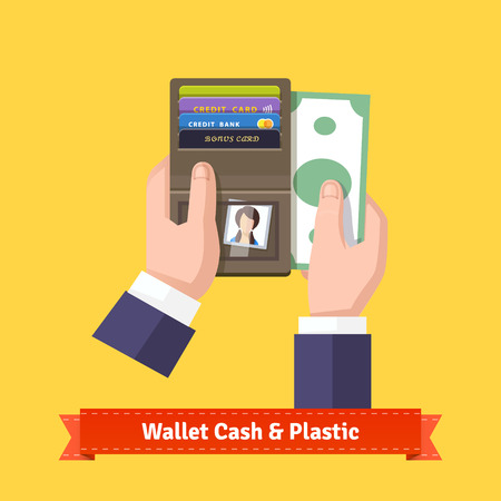 billfold: Opened wallet in hands flat icon. With plastic cards, dear photo and cash. EPS 10 vector. Illustration