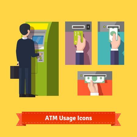 automatic transaction machine: dep�sito y la retirada de la m�quina ATM, pagos mediante tarjeta de cr�dito. conjunto de iconos plana. 10 EPS vector. Vectores
