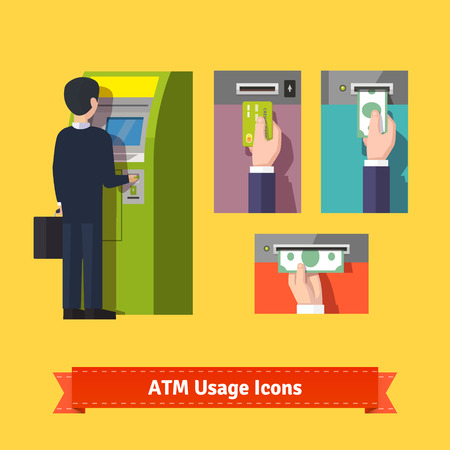 ATM machine deposit and withdrawal, payment using credit card. Flat icon set. EPS 10 vector. Illustration