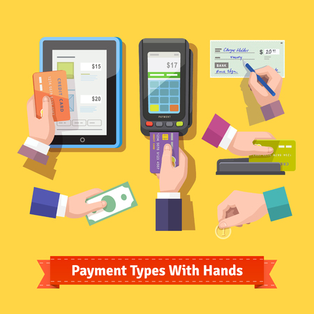 Flat icon set of payment types. Human hands holding credit cards, cash, coins, writing cheque, paint at POS. EPS 10 vector. Vettoriali