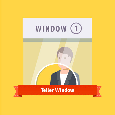 customer service: Teller window flat illustration. EPS 10 vector.