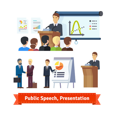 pitching: Businessman doing presentation or pitching a speech. Flat icon set. EPS 10 vector. Illustration
