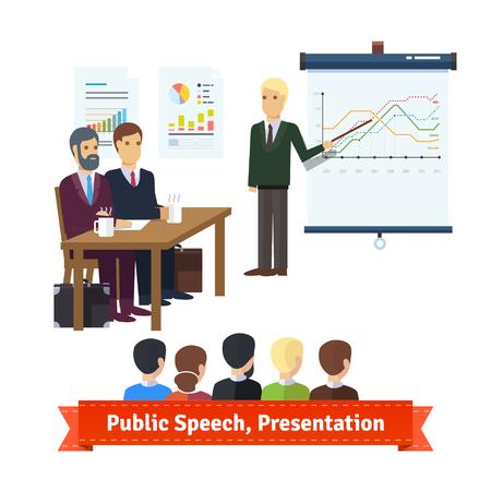 hum: Sale presentation, team building speech, team education. Flat icon set. EPS 10 vector. Illustration