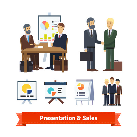 closing: Business job interview, brainstorming, sale closing, handshake and various charts. Flat icon set. EPS 10 vector.