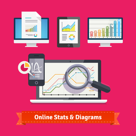 statistics icon: Statistics schemes and diagrams on a mobile devices. E-commerce and online metrics tracking. Flat icon set. EPS 10 vector. Illustration