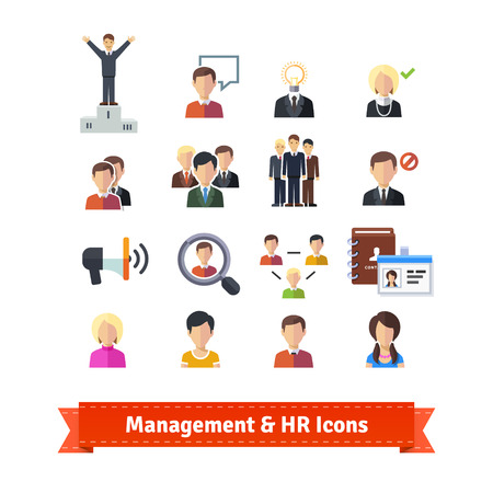 Management and human resources flat icons set. Business persons, HR accounting. EPS 10 vector.