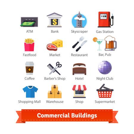 negocios comida: edificios comerciales colorido conjunto de iconos plana. Negocios, comercio, alimentos, recreación y comerciales signos. Para su uso con mapas e interfaces de servicios de Internet. 10 EPS vector.