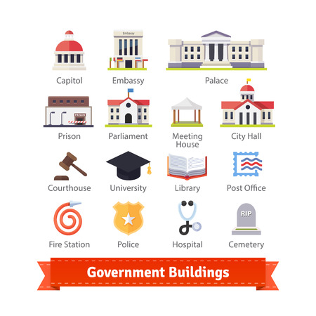 정부 건물 다채로운 평면 아이콘을 설정합니다. 지도와 인터넷 서비스 인터페이스와 함께 사용하십시오. EPS 10 벡터.