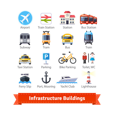 infrastructure buildings: Infrastructure buildings flat icon set. Road and water city transportation stations and parking signs. For use with maps and internet services interfaces. EPS 10 vector. Illustration
