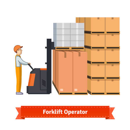 transportation facilities: Forklift operator loading boxes. Flat illustration. EPS 10 vector.