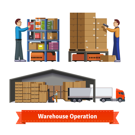 unload: Warehouse operations, workers and robots. Flat icon illustrations set. EPS 10 vector. Illustration