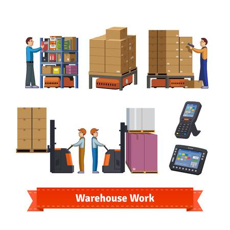 las operaciones de almacén, los trabajadores y los robots. Icono de la ilustración plana. 10 EPS vector. Ilustración de vector
