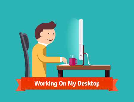 entertaining: Working on my desktop concept flat illustration. EPS 10 vector.